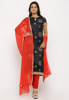 Foil Printed Kota Silk Straight Suit in Black