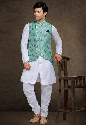 Foil Printed Linen Kurta Jacket Set in White and Teal Green
