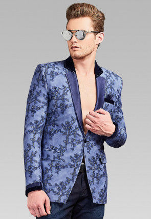 Foil Printed Lycra Blazer in Blue