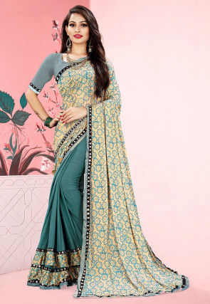 Foil Printed Lycra Half N Half Saree in Beige and Blue