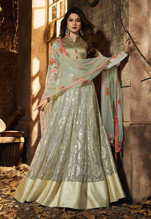 Foil Printed Lycra Net Abaya Style Suit in Dusty Green