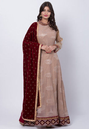 Foil Printed Lycra Net Abaya Style Suit in Old Rose