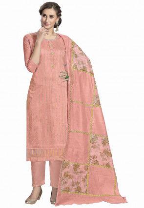 Foil Printed Modal Silk Pakistani Suit in Peach