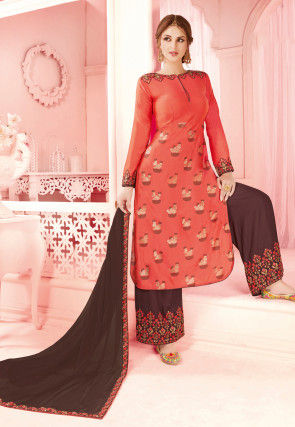 Foil Printed Muslin Silk Pakistani Suit in Coral Red