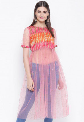 Foil Printed Net A Line Kurta in Pink and Orange