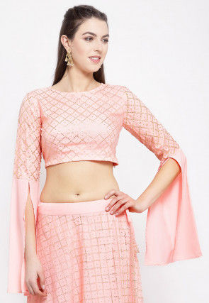 Foil Printed Net Crop Top in Peach