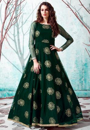 Foil Printed Net Gown in Dark Green