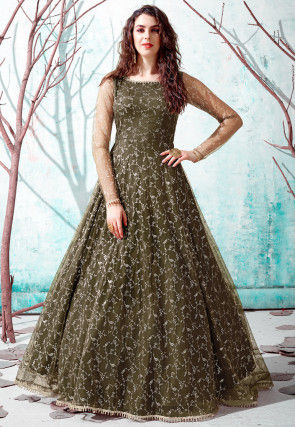 Foil Printed Net Gown in Olive Green