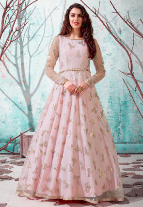 Foil Printed Net Gown in Peach