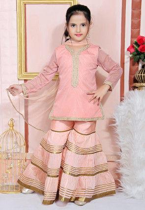Foil Printed Net Pakistani Suit in Peach