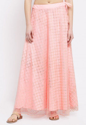 Foil Printed Net Skirt in Peach