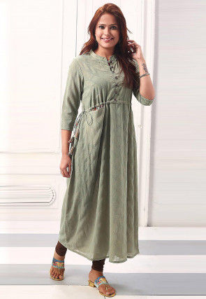 Foil Printed Polyester Clinched Waistline Tunic in Green