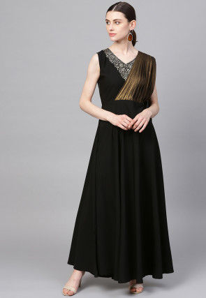 Foil Printed Polyester Dress with Attached Dupatta in Black