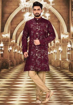 Foil Printed Polyester Spandex Sherwani in Maroon