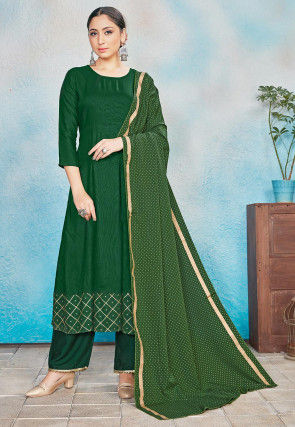 Foil Printed Rayon Anarkali Suit in Green