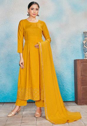 Foil Printed Rayon Anarkali Suit in Mustard