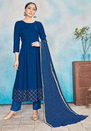 Foil Printed Rayon Anarkali Suit in Teal Blue