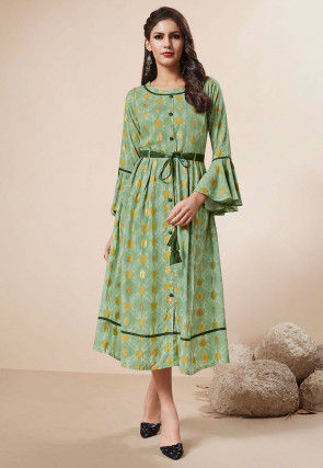 Foil Printed Rayon Dress in Light Green