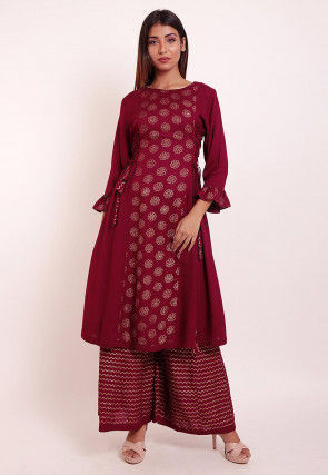 Foil Printed Rayon Kurta Set in Wine