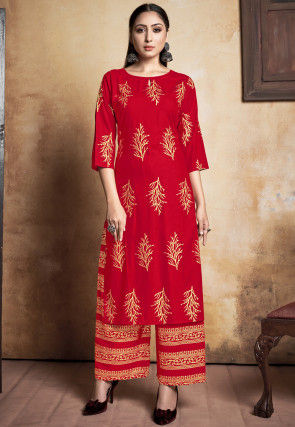 Foil Printed Rayon Kurta with Palazzo in Red