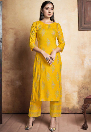 Foil Printed Rayon Kurta with Pant in Yellow