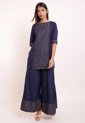 Foil Printed Rayon Kurti Set in Navy blue