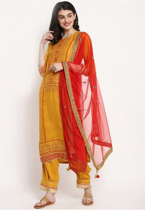 Foil Printed Rayon Pakistani Suit in Mustard