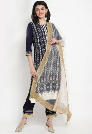 Foil Printed Rayon Pakistani Suit in Navy Blue
