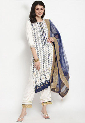 Foil Printed Rayon Pakistani Suit in Off White