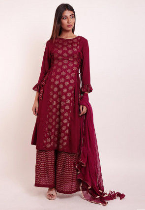 Foil Printed Rayon Pakistani Suit in Maroon