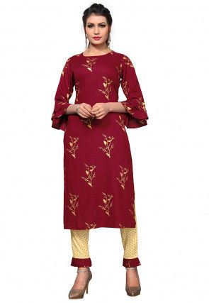 Foil Printed Rayon Straight Kurta Set in Maroon