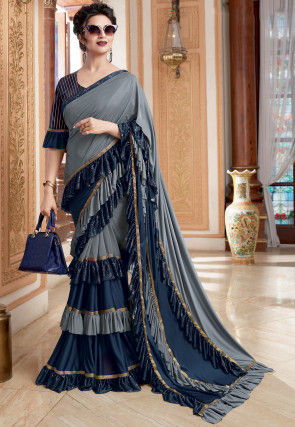 Foil Printed Ruffled Lycra Saree in Grey and Navy Blue