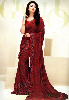 Foil Printed Ruffled Lycra Saree in Maroon