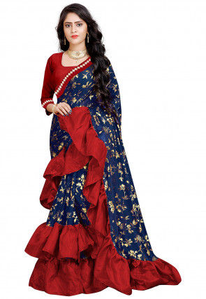 Foil Printed Ruffled Lycra Saree in Navy Blue