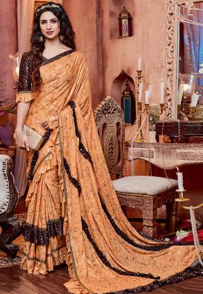 Foil Printed Ruffled Lycra Saree in Orange