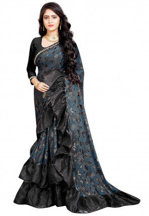 Foil Printed Ruffled Lycra Saree in Sky Blue