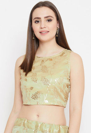 Foil Printed Satin Georgette Crop Top in Pastel Green