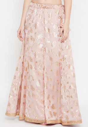 Foil Printed Satin Georgette Skirt in Peach
