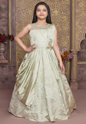 Foil Printed Satin Gown in Pastel Green