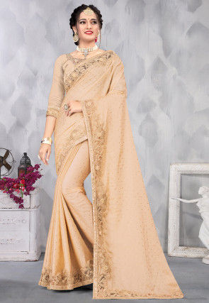 Foil Printed Satin Saree in Beige