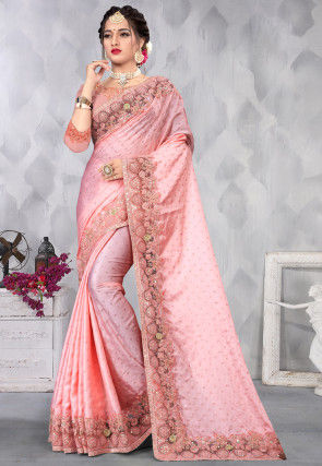 Foil Printed Satin Saree in Pink
