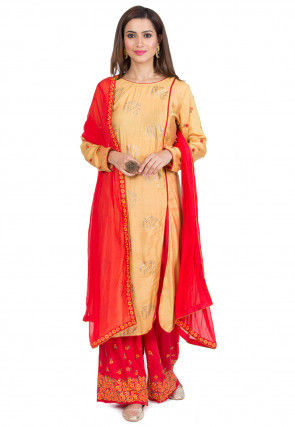 Foil Printed Side Slit Muslin Silk Pakistani Suit in Light Orange