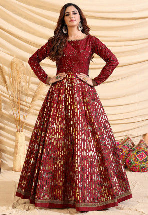 Foil Printed Tafetta Silk Gown in Maroon