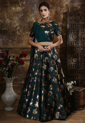 Foil Printed Taffeta Silk Lehenga in Dark Teal Green