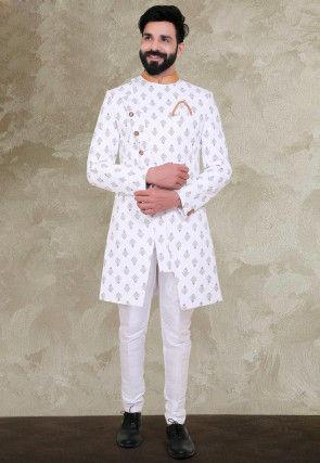 Foil Printed Terry Rayon Asymmetric Sherwani in Off White