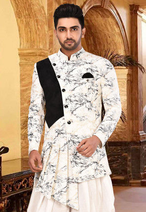 Foil Printed Terry Rayon Dhoti Sherwani in Off White