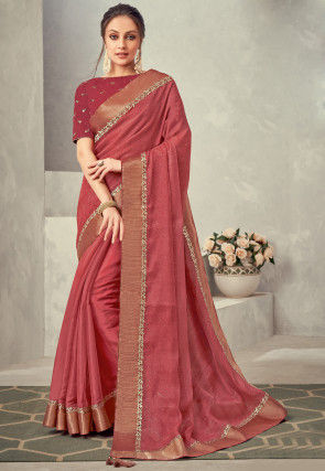 Foil Printed Tissue Saree in Coral Red