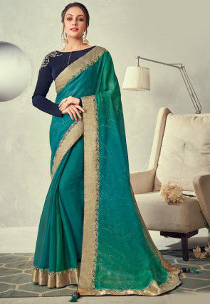 Foil Printed Tissue Saree in Teal Blue