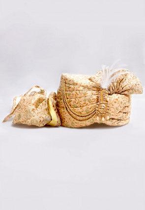 Foil Printed Turban in Beige