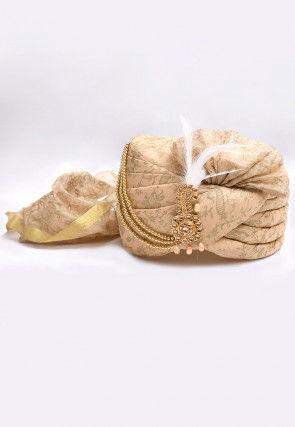 Foil Printed Turban in Light Beige